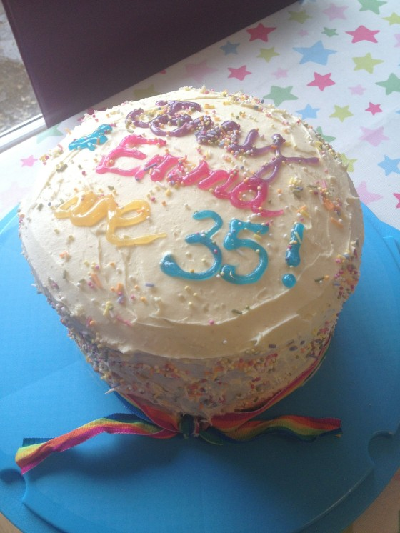 the rainbow birthday cake pre cutting